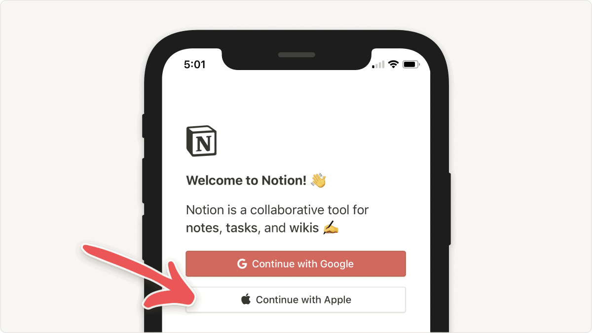 Notion: Sign in with Apple ID