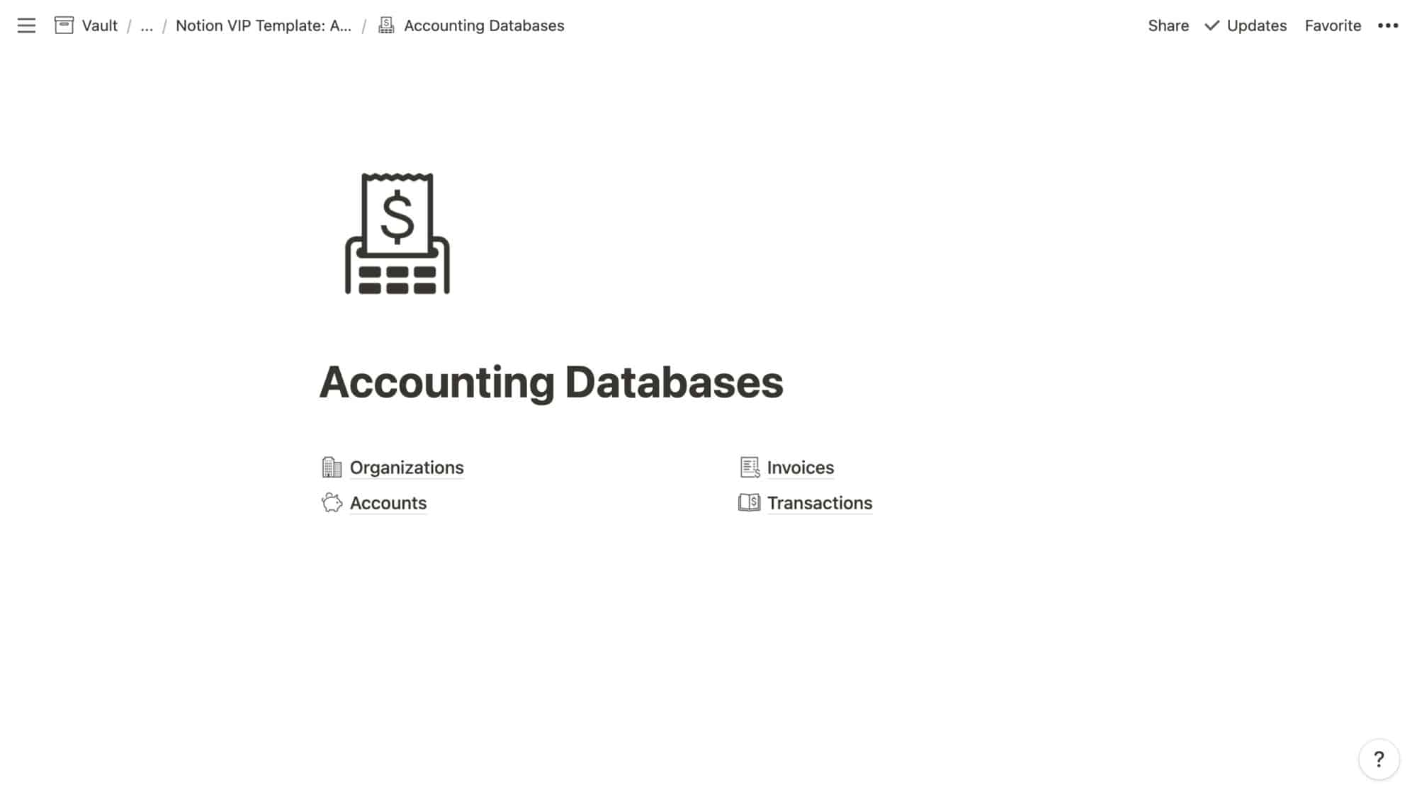 Accounting Databases in Notion