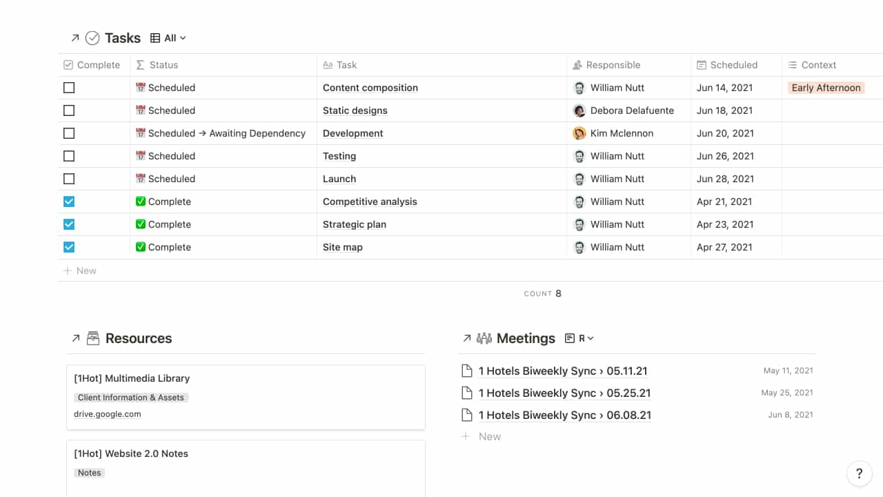 Notion Project Dashboard
