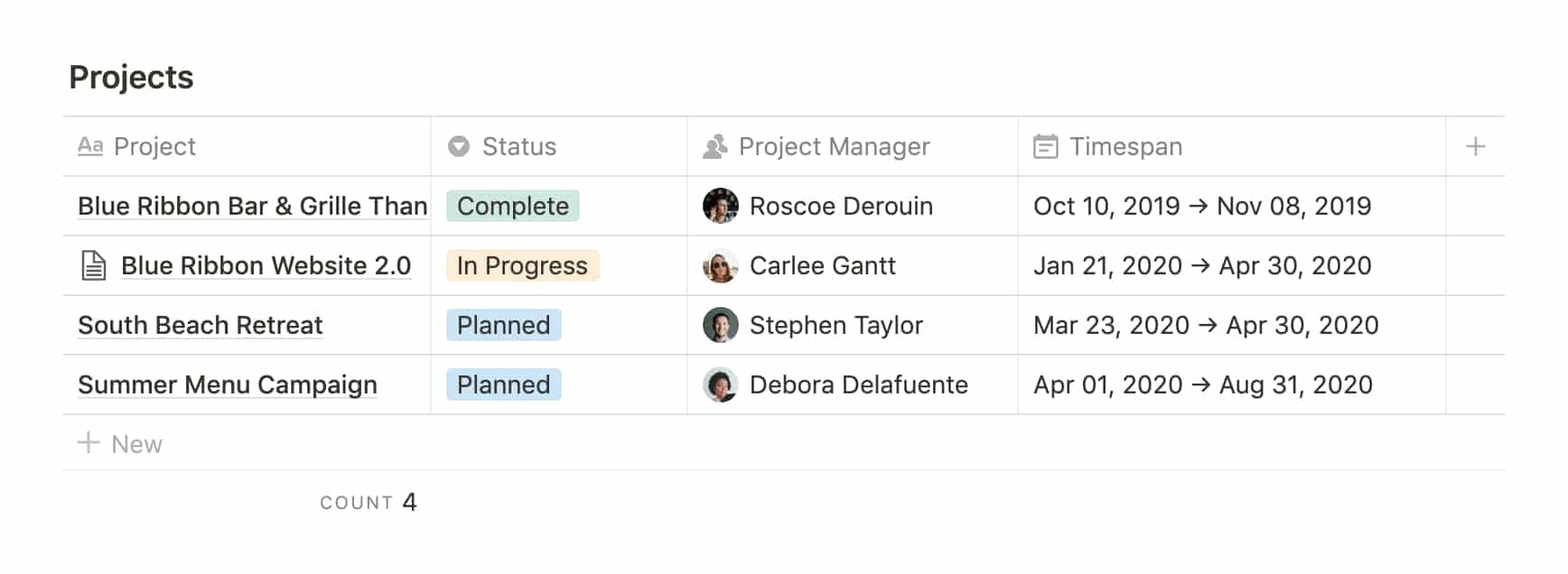 Notion Database: Projects