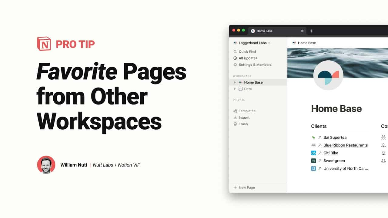Favorite Pages in Other Notion Workspaces