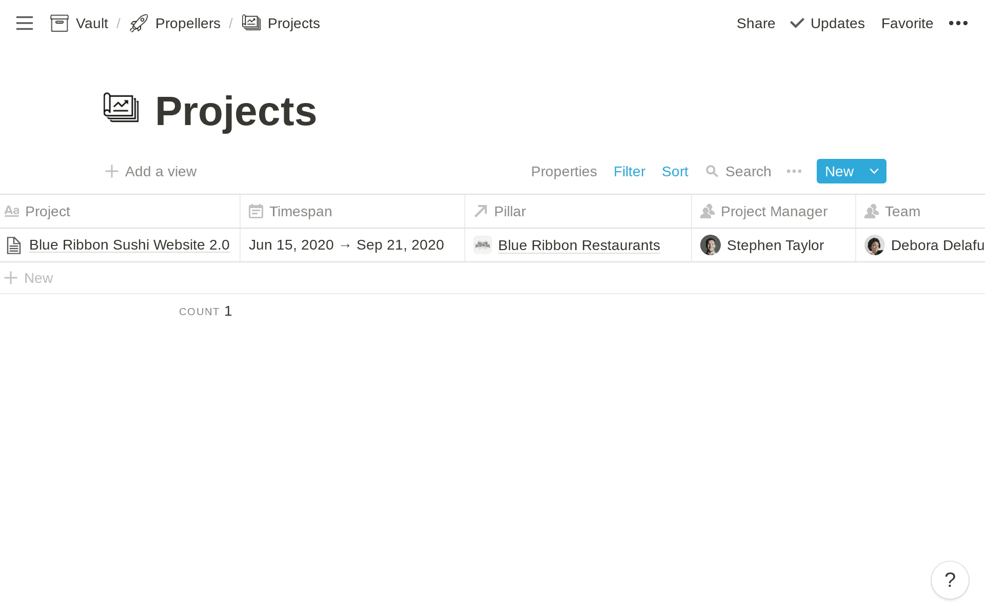 Add a project in Notion