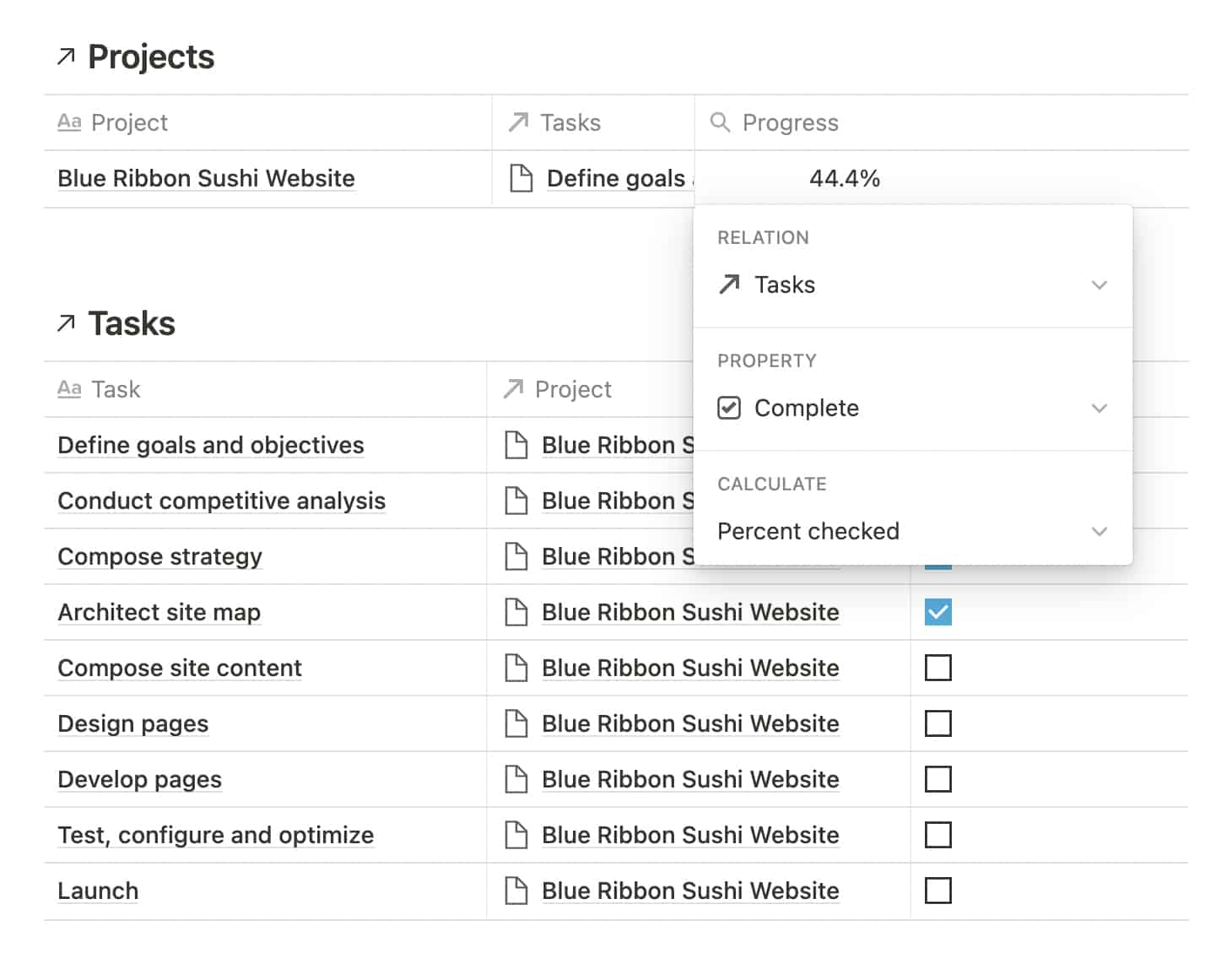 Calculate Project Progress in Notion with a Rollup