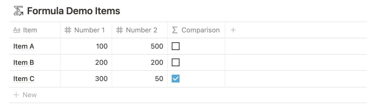 Compare Numbers with Notion Formulas