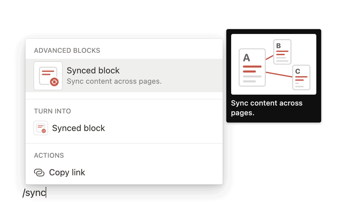 Create a Synced Block in Notion