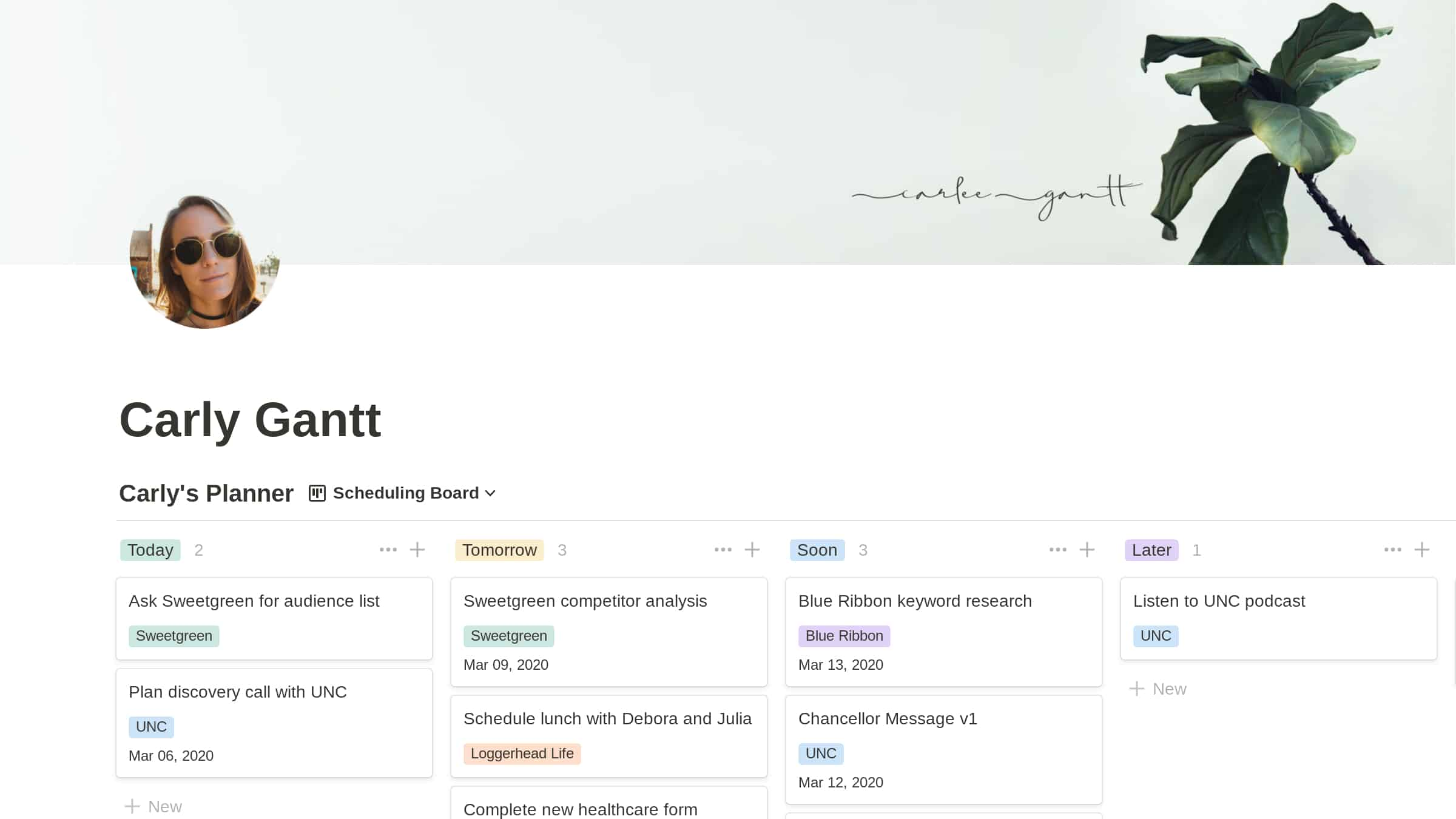 Notion: Personalized Homepage
