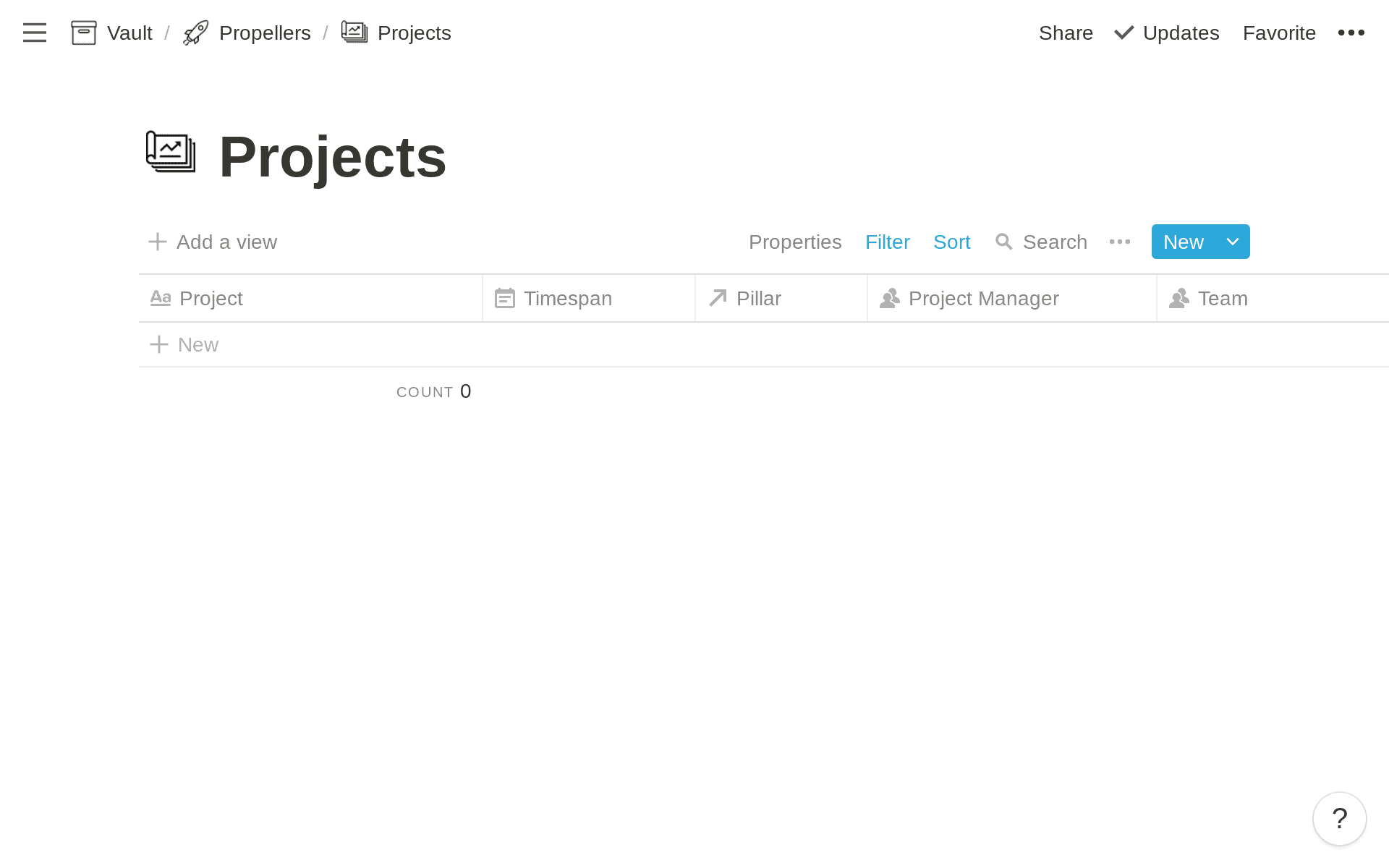Projects Database in Notion
