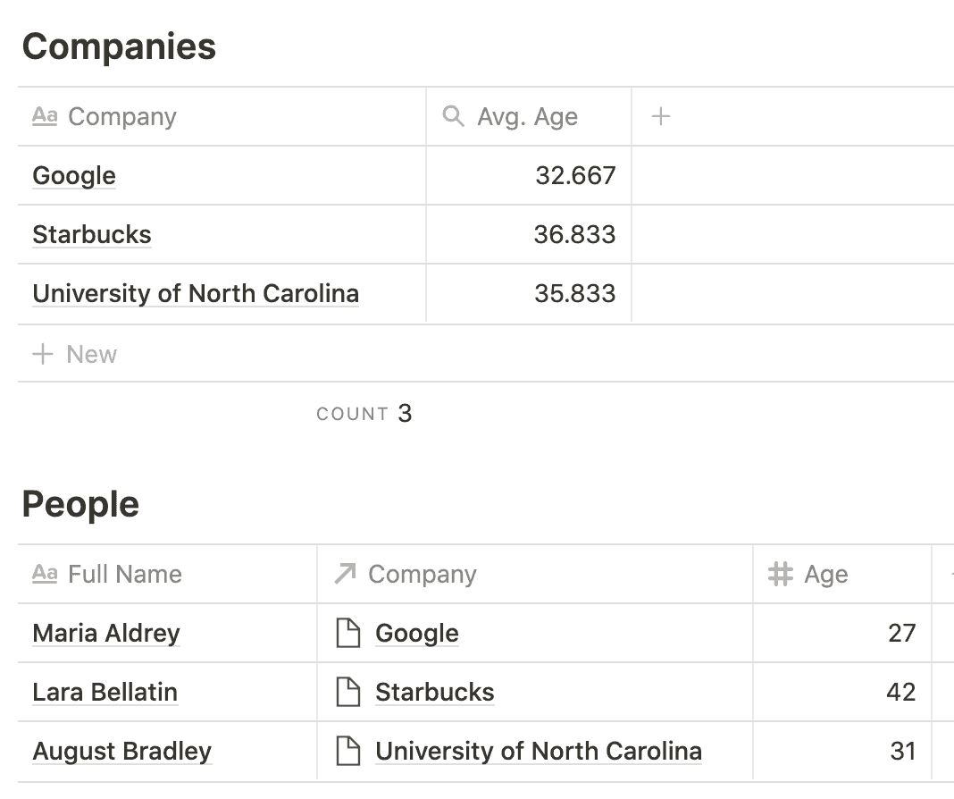 Notion Companies and People — Average Age
