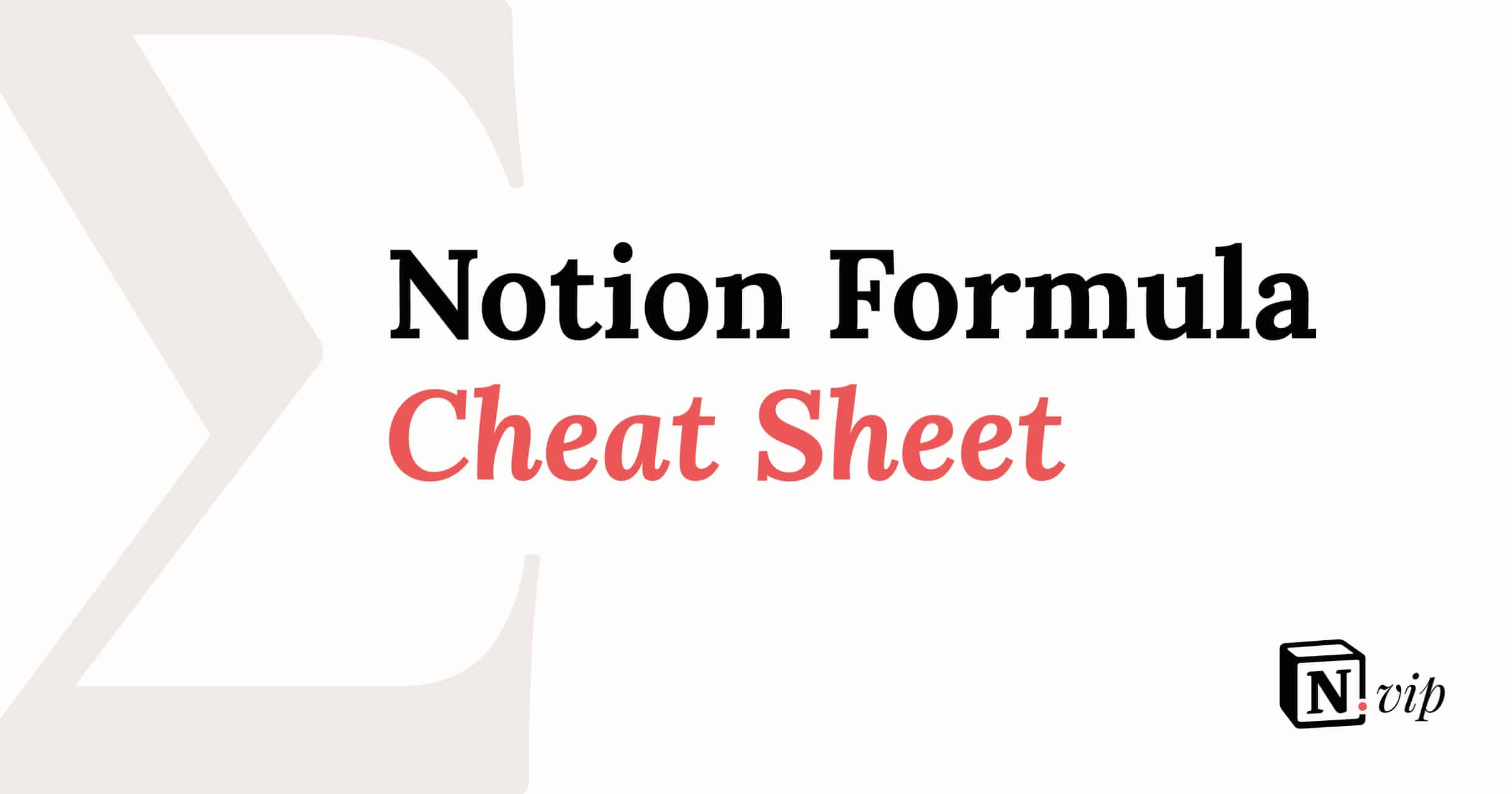 Notion Formula Cheat Sheet