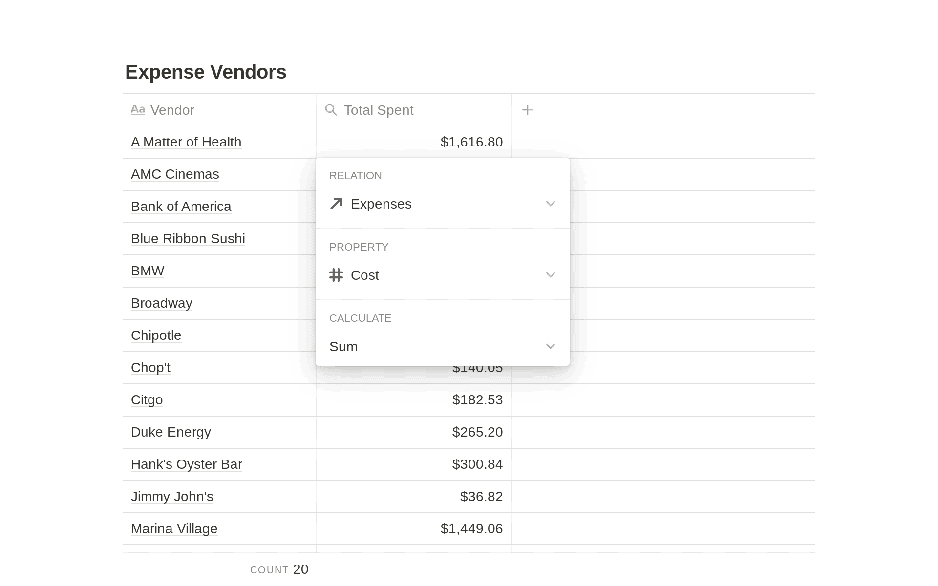 Track Spending by Vendor in Notion