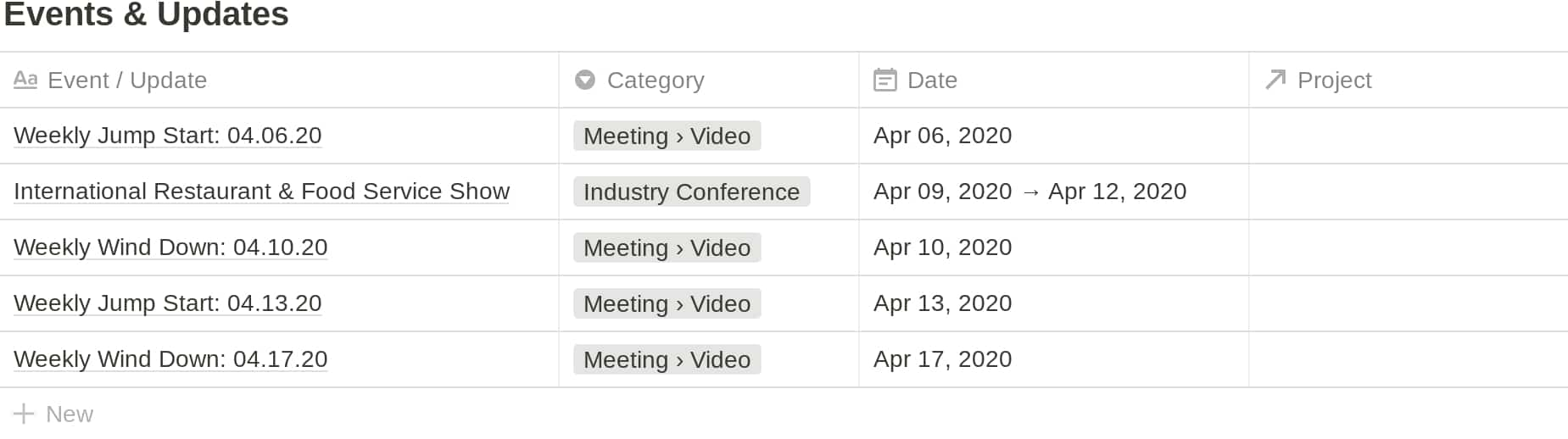 Notion VIP Client Portal: Events Database