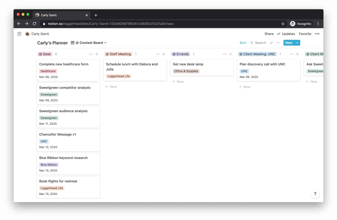 Notion Database: Context Board