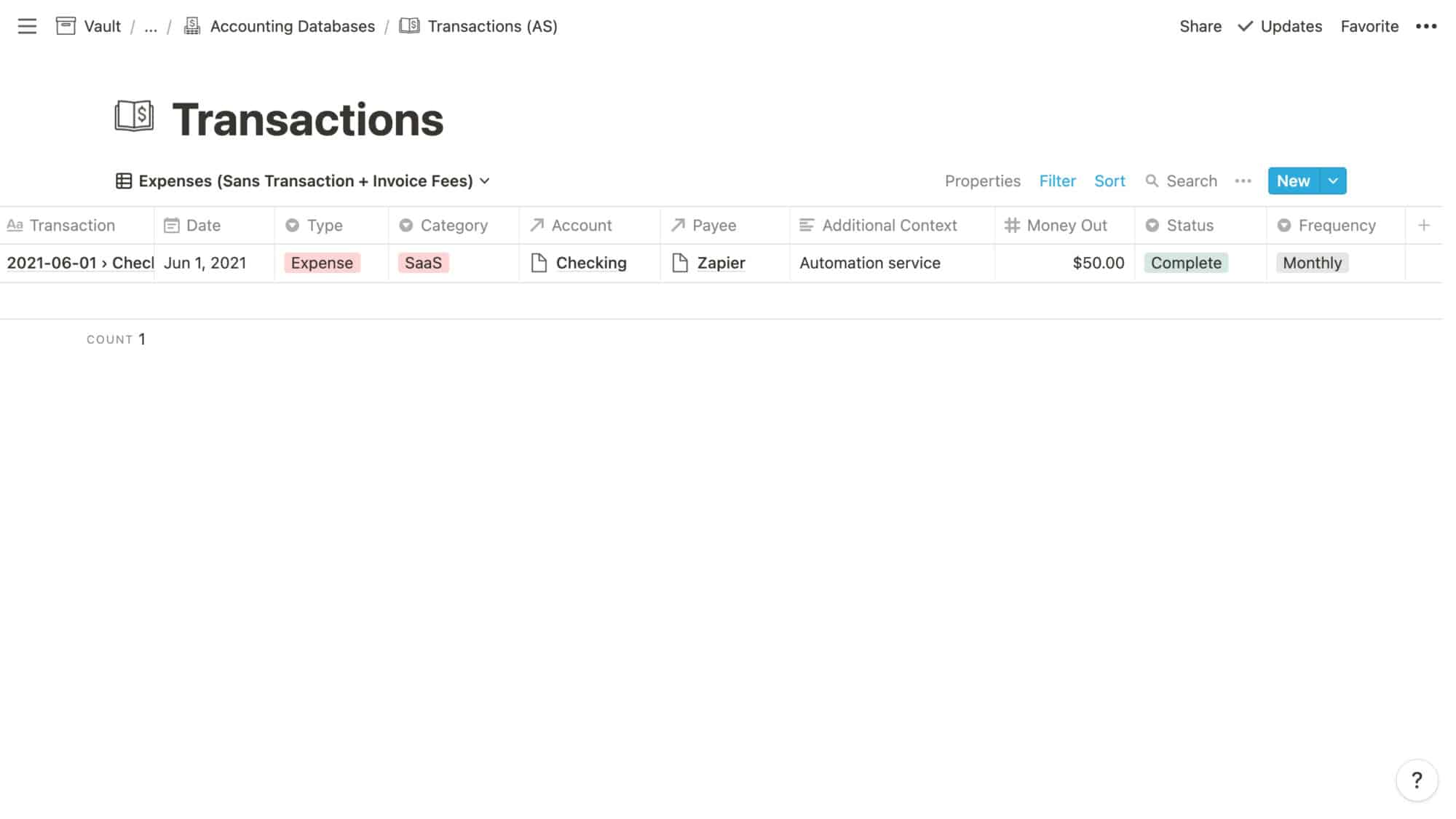 Transactions Example: Monthly Expense
