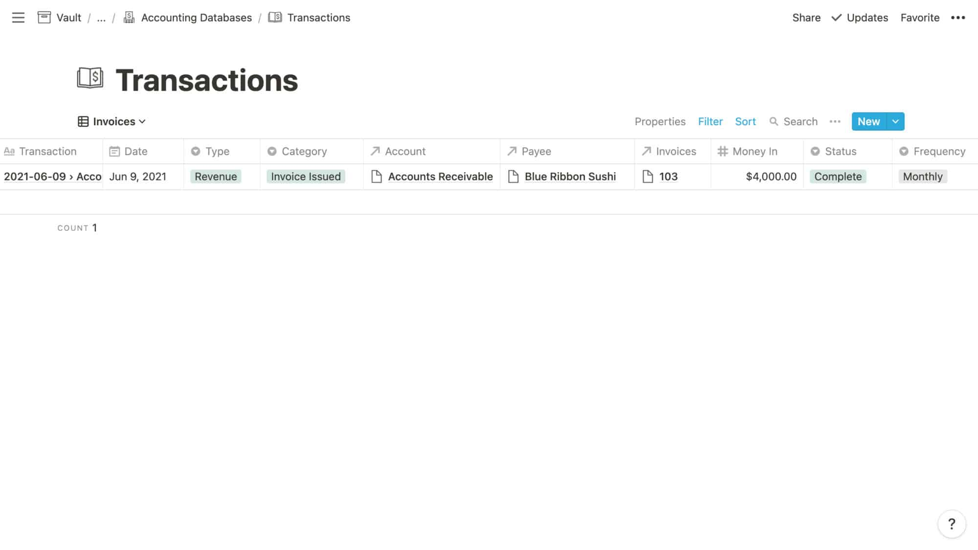 Transactions Example: Invoice Issued