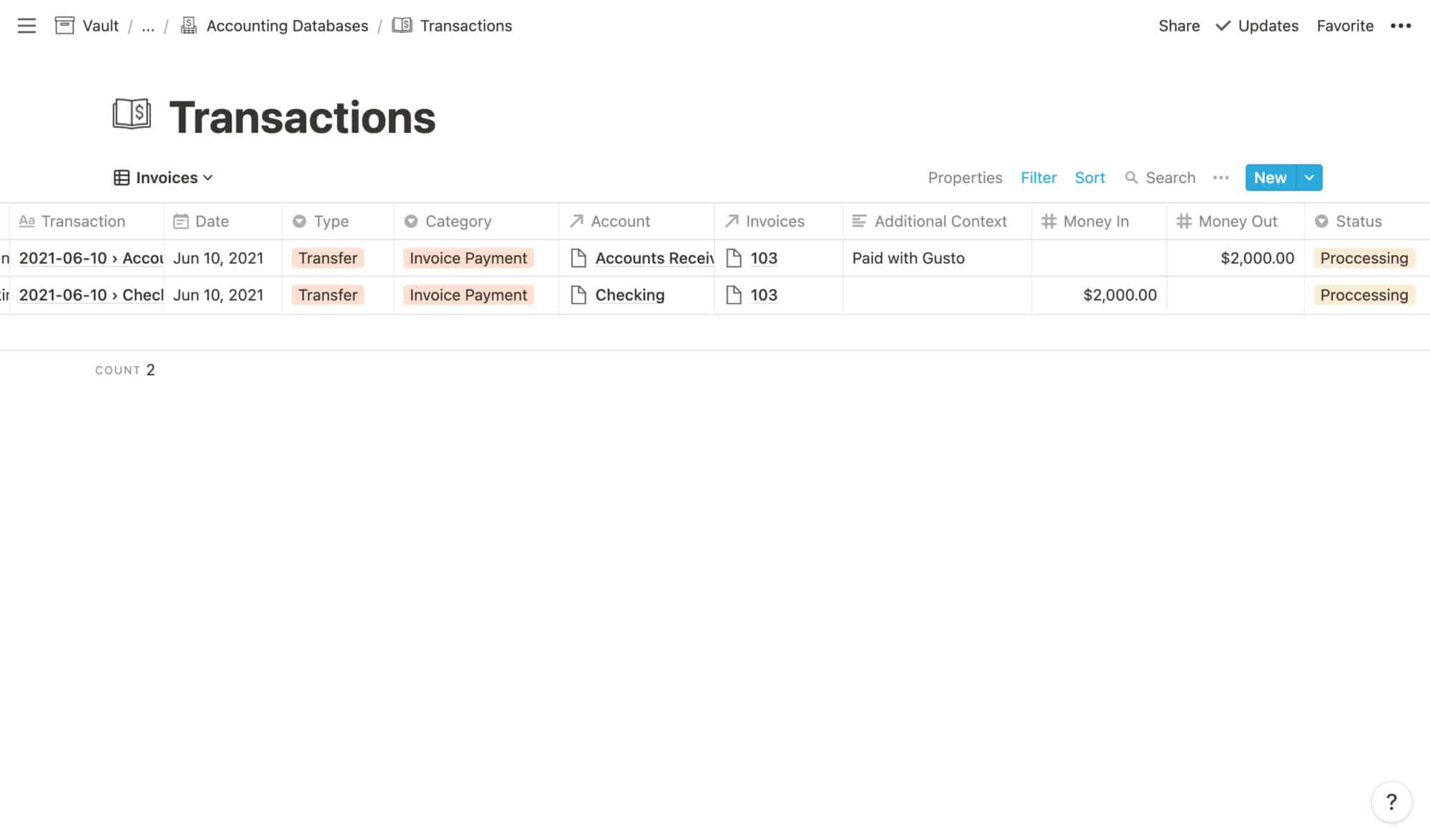 Transactions Example: Invoice Paid