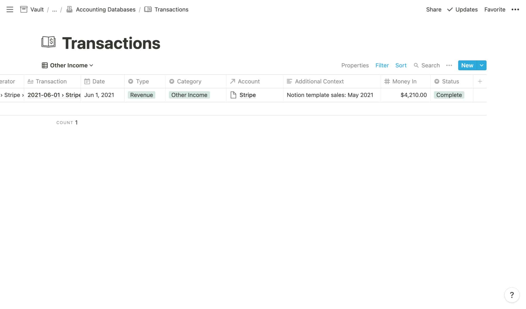 Transactions Example: Other Income