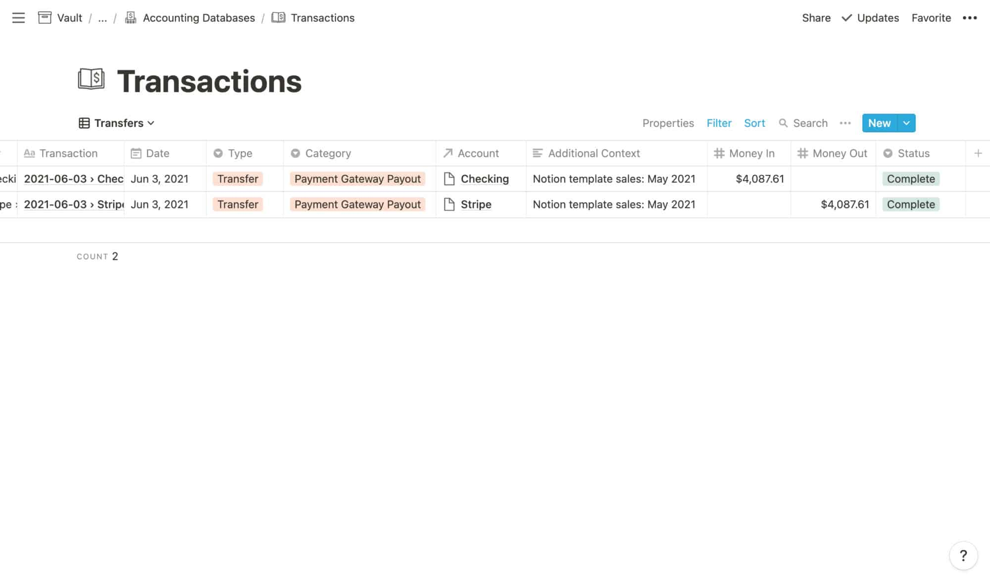 Transactions Example: Gateway Payout