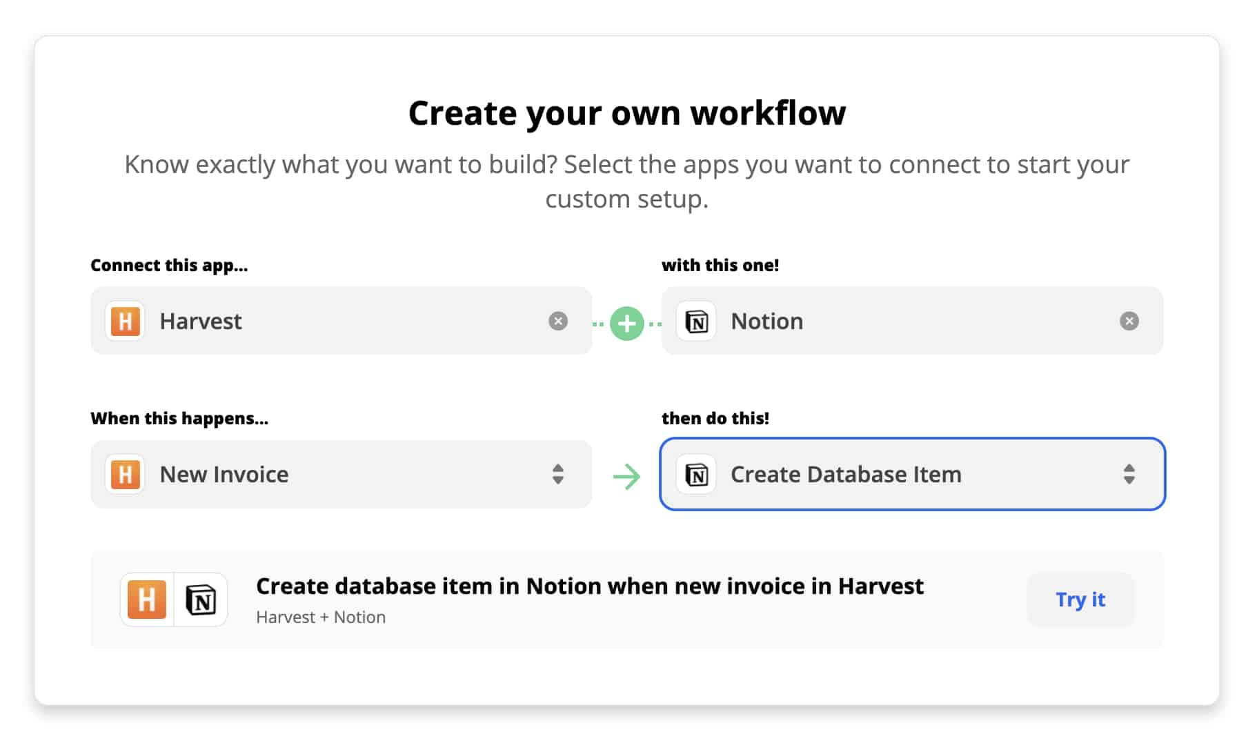 Zapier: Notion and Harvest Invoices